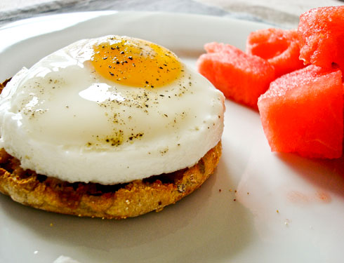 poached egg on english muffin